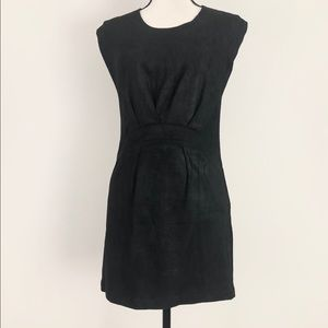 IRO Suede Leather Gathered Front Mini Dress